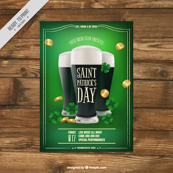 St patrick's day brochure template with beers and coins in realistic style