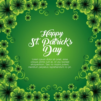 St patrick's day card with clovers plants decoration
