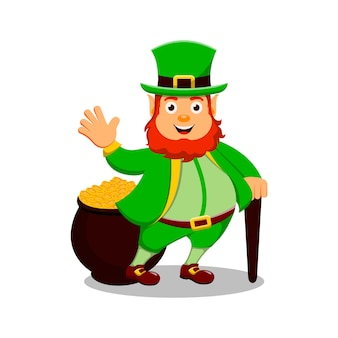 St. patrick's day cartoon character leprechaun with cauldron and coins