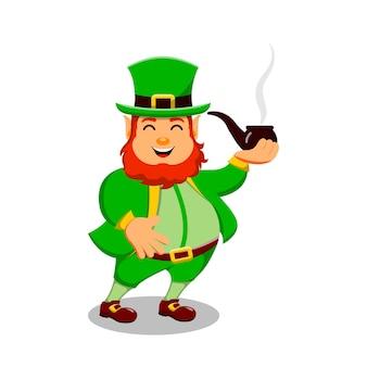 聖パトリックの日漫画のキャラクターレプラコーンと煙パイプ