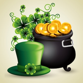 St patrick's day cauldron wit golden coins and hat