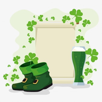 St patrick's day celebration card with clovers and boots