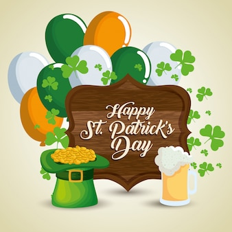 St patrick's day celebration with wood emblem and balloons