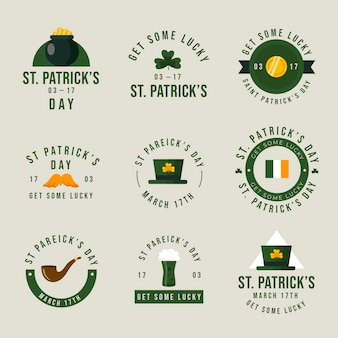 St. patrick's day circular vintage labels and badges