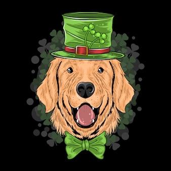 St. patrick's day cute golden retriever puppy dog
