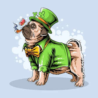 St. patrick's day the cute pug smokes a cigar