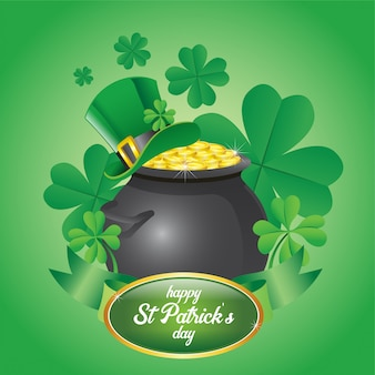 St. patrick's day design a pot full of gold coins