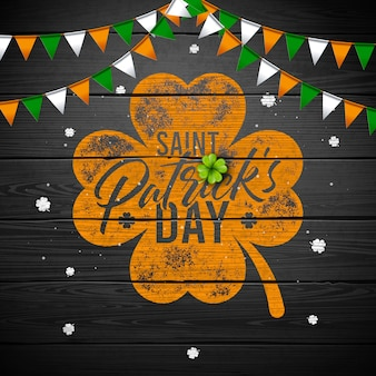St. patrick's day design, with clover and typography letter