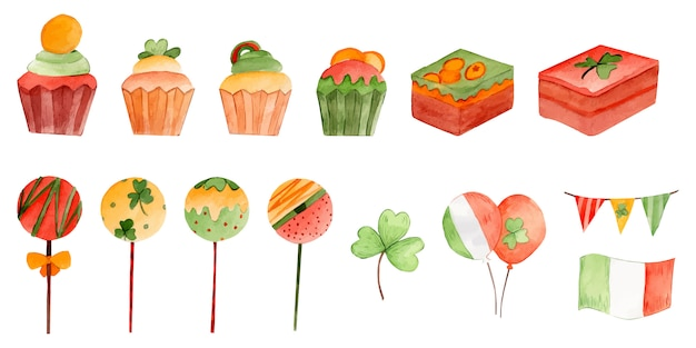 St.patrick's day desserts watercolor illustration group