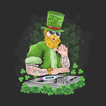 St. patrick's day dj night party tattoo artwork