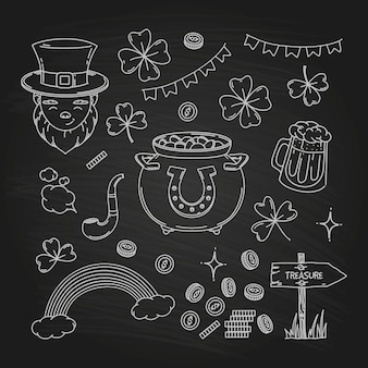 St. patrick's day doodle element collection