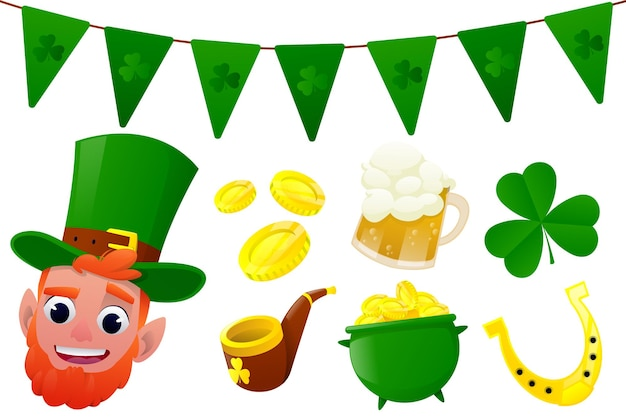 St.patrick's day element collection in cartoon design