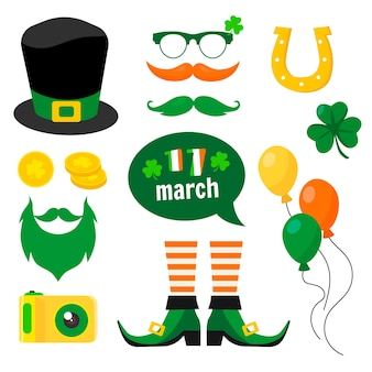 St. patrick's day element collection in flat design
