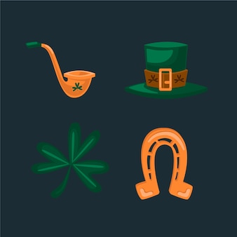 St. patrick's day element collection isolated on dark background