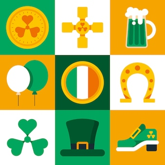 St. patrick's day element collection in isolated squares