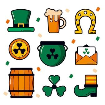 聖パトリックの日の要素コレクションラッキーオブジェクトとビール