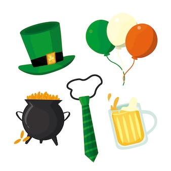 St. patrick's day element collection with balloons and beer