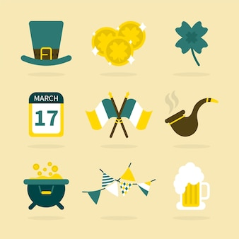 St. patrick's day element collection with pipes and flags