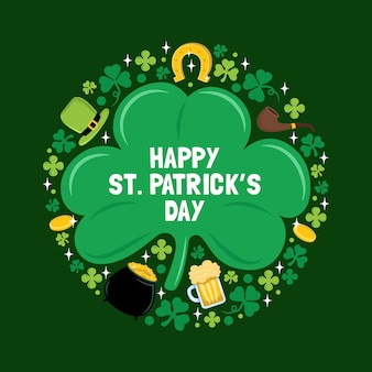 St. patrick's day element poster and greeting card