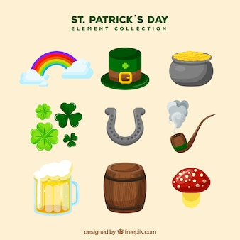 St. patrick's day elements collection in flat style