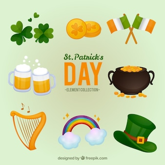 St. patrick's day elements collection Premium Vector