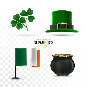 St. patrick's day elements set on transparent background
