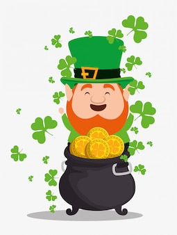 St patrick's day elf wearing hat with cauldron and coins