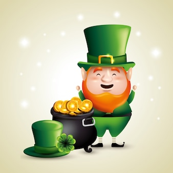 St patrick's day elf with coins inside cauldron and hat Free Vector