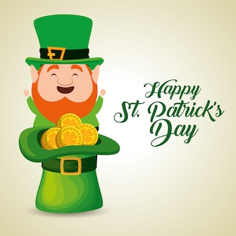 St patrick's day elf with hat and coins
