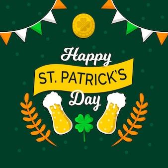 День святого патрика плоский дизайн пива в бокалах