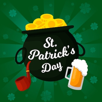 St. patrick's day flat design cauldron of coins