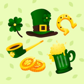 St. patrick's day flat design of element set