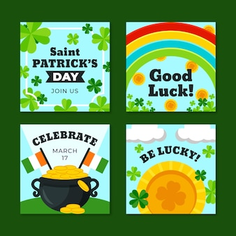 St. patrick's day flat design instagram posts template