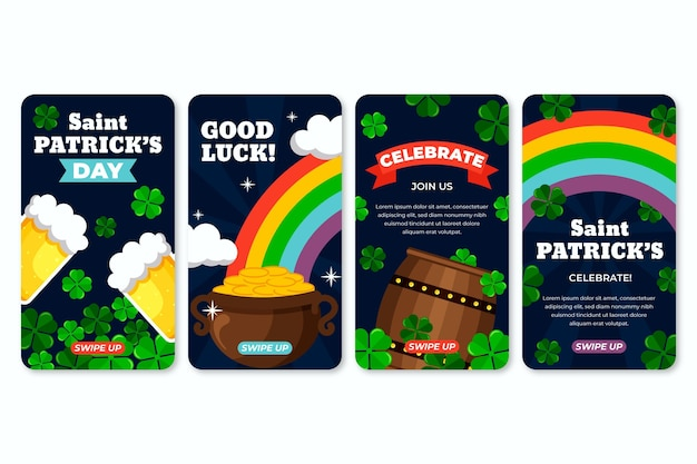 St. patrick's day flat design instagram stories