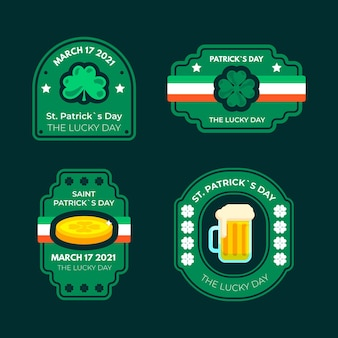 St. patrick's day flat design label set