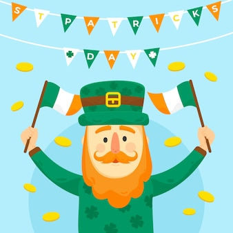 St. patrick's dayflat design leprechaun with flags and garlands