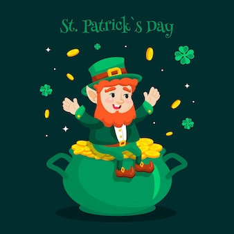St. patrick's day flat design and leprechaun