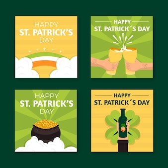 St. patrick's day flat design stories template
