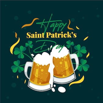 St. patrick's day flat design toasting beers