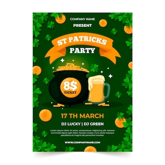 St. patrick's day flyer flat design template