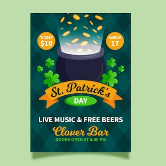 St. patrick's day flyer template in flat design