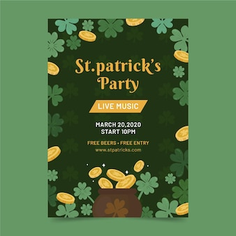 St. patrick's day flyer template hand drawn