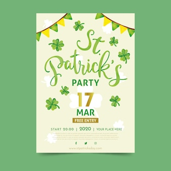St. patrick's day flyer template with lettering