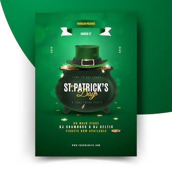 St. patrick's day flyer with cauldron and top hat
