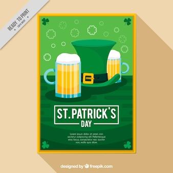 День святого патрика флаер с шляпой и пива