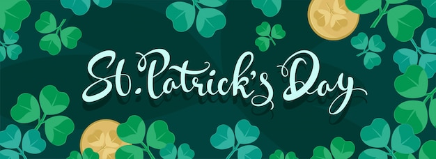 St. patrick's day font on green header or banner  decorated with shamrock leaves and coins.
