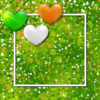 St.patrick's day green  background with clover leaves and hearts