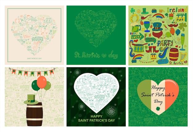 Поздравительные открытки ко дню святого патрика с рисунками, нарисованными от руки, каракули пива, радуга, лепрекон ...