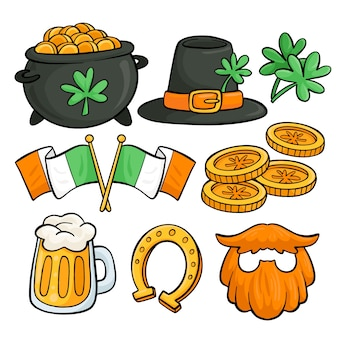 St. patrick's day hand drawn element collection on white background