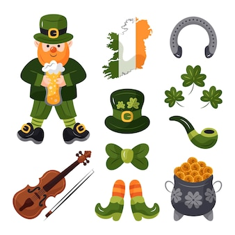 St. patrick's day hand drawn elements set